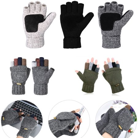 Vbiger Men's Wool Knitted Winter Gloves Warm Wool Mittens With Mitten Cover