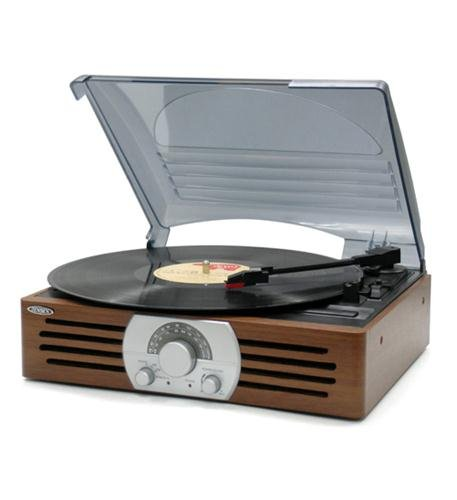 Jensen 3-speed Stereo Turntable With Am/fm Stereo Radio - 33.33, 45, 78 Rpm (jta-222)