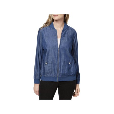Alfred Angelo Bridal Coats (Alfred Dunner Womens Spring Zip-Front Bomber Jacket Blue 16)