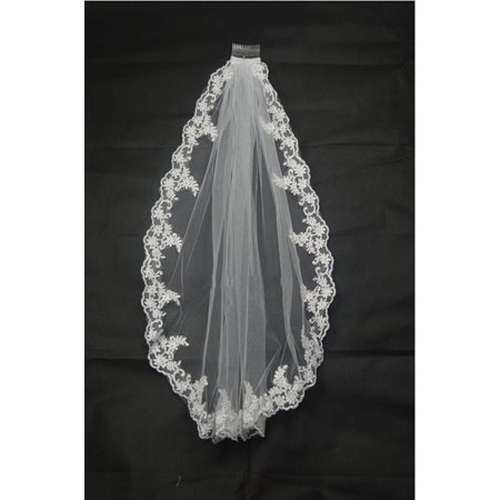 New White/Ivory Handmade Bridal Wedding Veil With Comb Lace Applique Edge Diamond White Bridal Veil