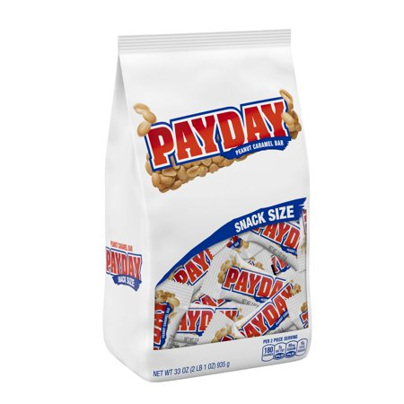 Payday, Peanut and Caramel Snack Size Candy Bars, 33 Oz - Non Candy Halloween Snacks