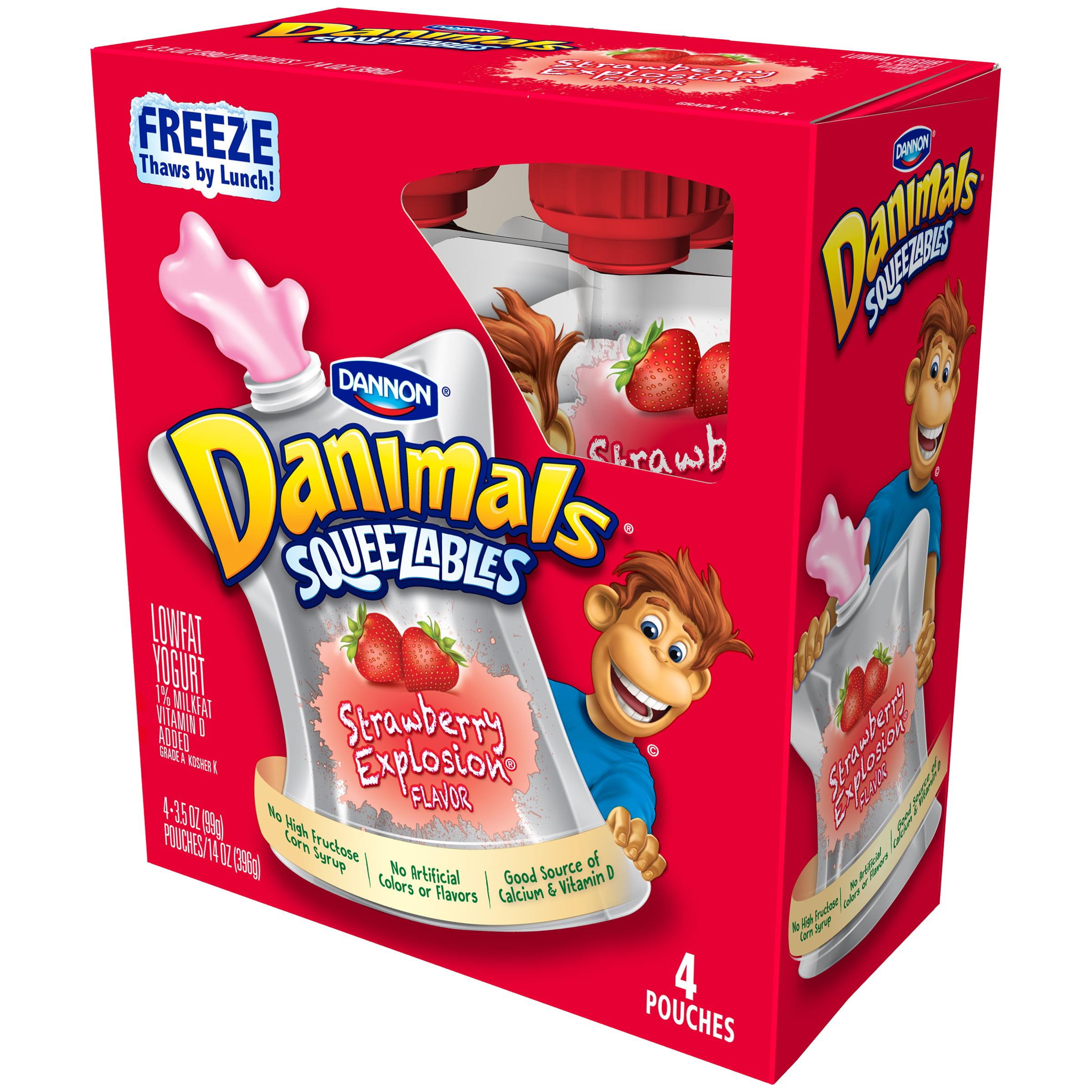 Danimals, Squeezable Strawberry Explosion Lowfat Yogurt, 3.5 Oz., 4 Count