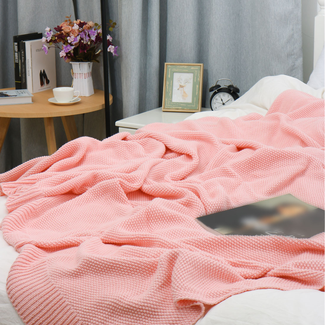 "100% Cotton Soft Warm Knit Throw Blanket Bed Sofa Home Decor 71"" x 79"" Pink - image 7 de 8"