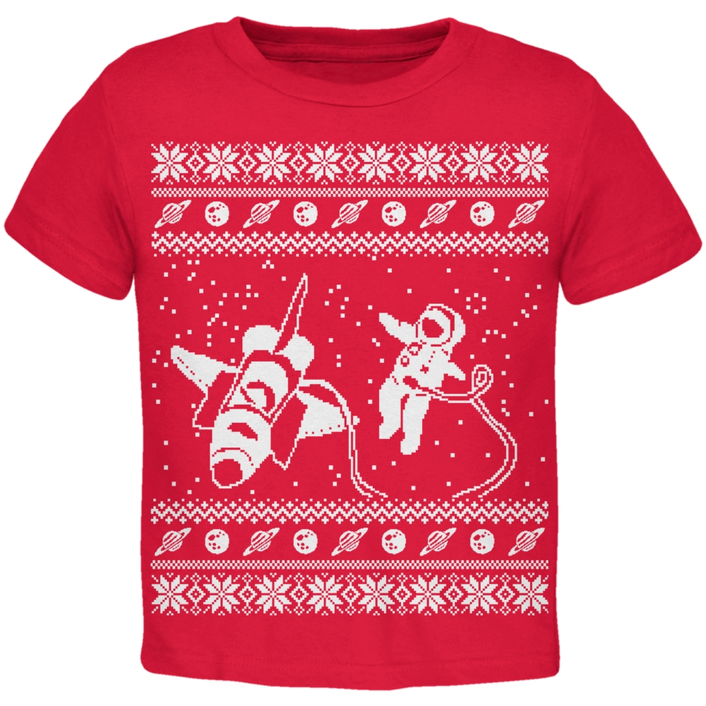 Astronaut in Space Ugly Christmas Sweater Red Toddler T-Shirt