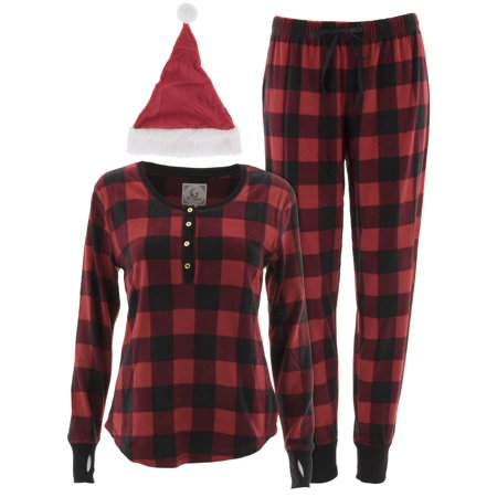 PJ Couture Women's Red Plaid Pajamas and Santa - Santa Pj