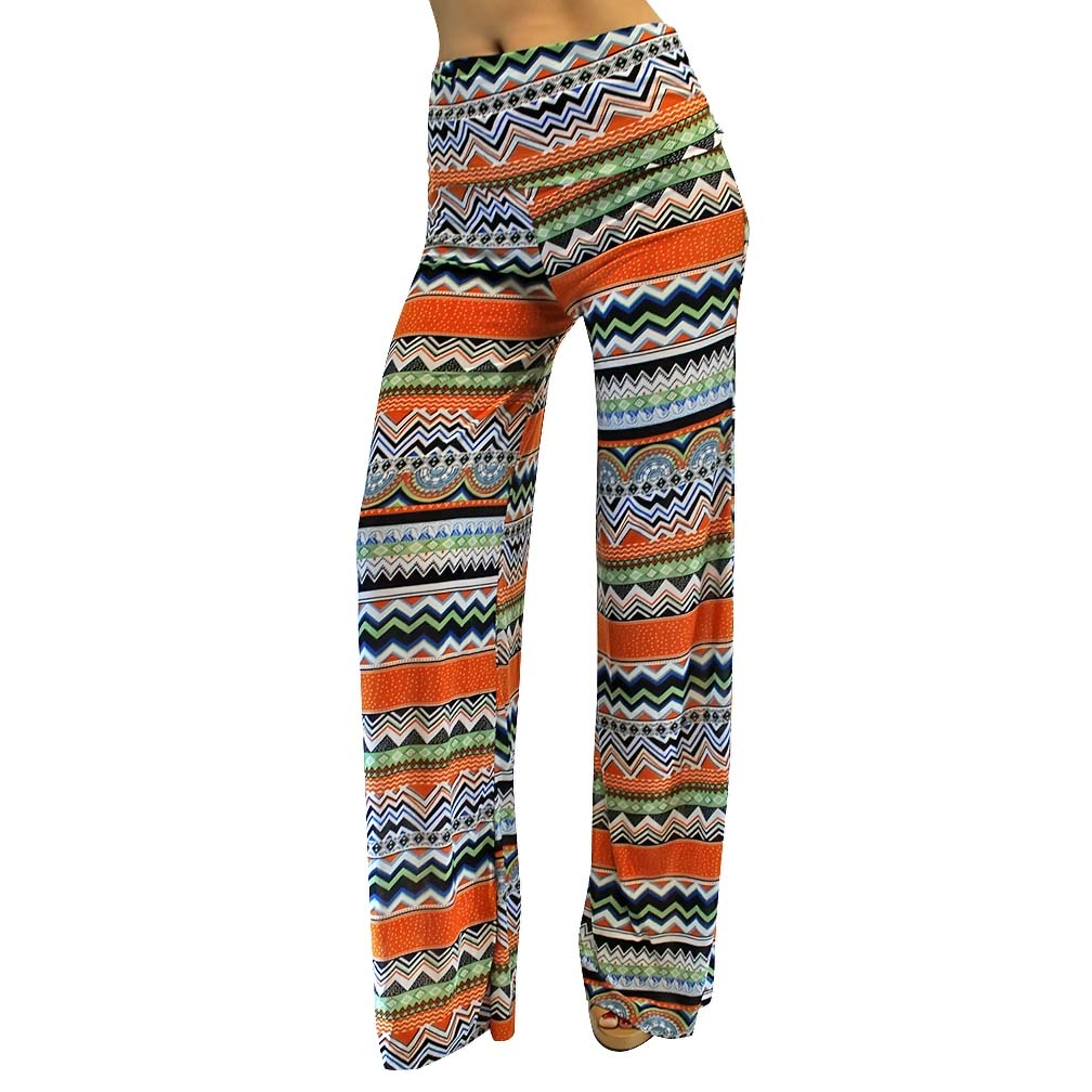Luxury Divas Aztec Stripe Orange Gaucho Boho Flare Palazzo Pants