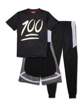 """ENCX Boys 8-18 """"100"""" T-Shirt, Joggers and Shorts Athletic Outfit, 3pc"""