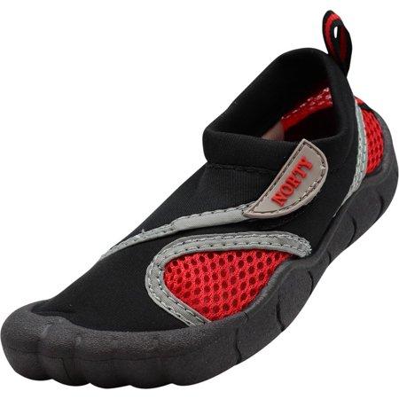 NORTY Little Kids & Toddler Slip-On Childrens Water Shoes Boys & Girls Aqua Sock, 40951 Black/Red / covid 19 (Keds Childrens Shoes coronavirus)