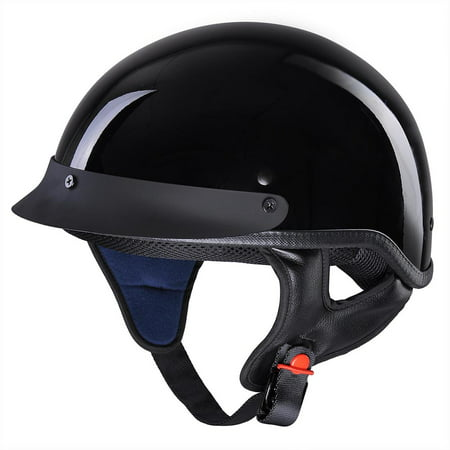 AHR Motorcycle Half Face Helmet DOT Approved Bike Cruiser Chopper High Gloss Black