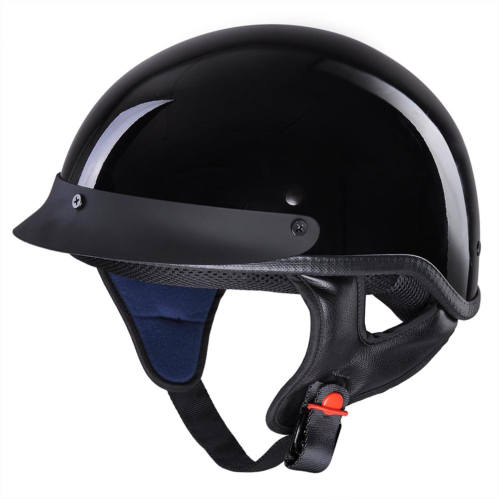 AHR Motorcycle Half Face Helmet DOT Approved Bike Cruiser Chopper High Gloss Black M