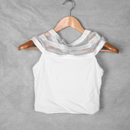 New Fashion Shoulder Perspective Mesh Stitching Short Dew Navel T-Shirt Drop Shipping Wholesale