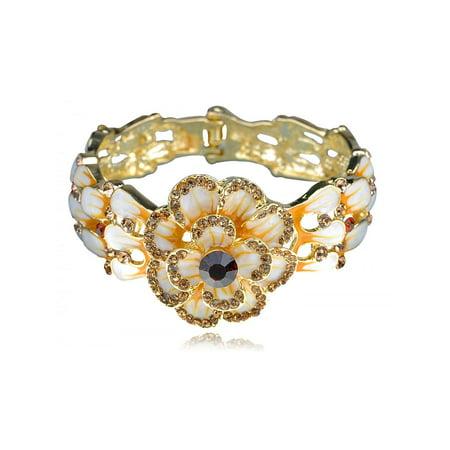 Enamel Painted Topaz Crystal Rhinestone Spring Flower Bracelet Bangle Cuff