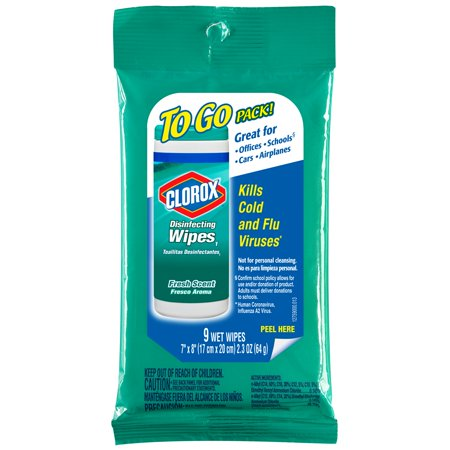 Clorox Disinfecting Wipes On The Go, Bleach Free Travel Wipes - Fresh Scent, 9 ct
