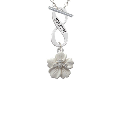 Bee on White Flower Faith Infinity Toggle Chain Necklace