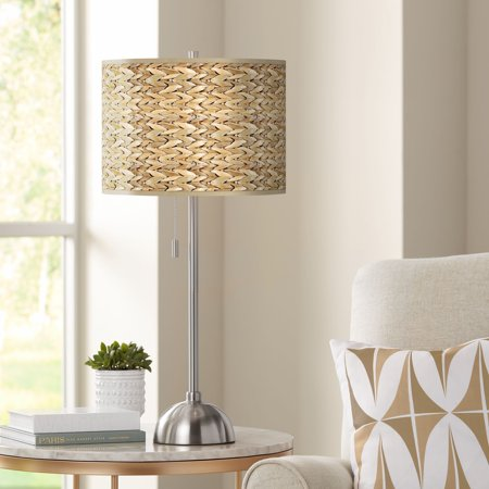 Giclee Glow Seagrass Print Pattern Shade Table Lamp ()
