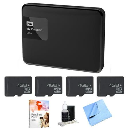 Western Digital My Passport Ultra 3 TB Portable External Hard Drive, Black  (WDBBKD0030BBK-NESN) with 4x 4GB Memory Card & Adapter, PaintShop Pro X8,