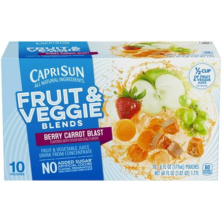 (4 Pack) Capri Sun Fruit & Veggie Blends Berry Carrot Blast Juice Drink, 10 - 6 fl oz Pouches - Halloween Capri Suns