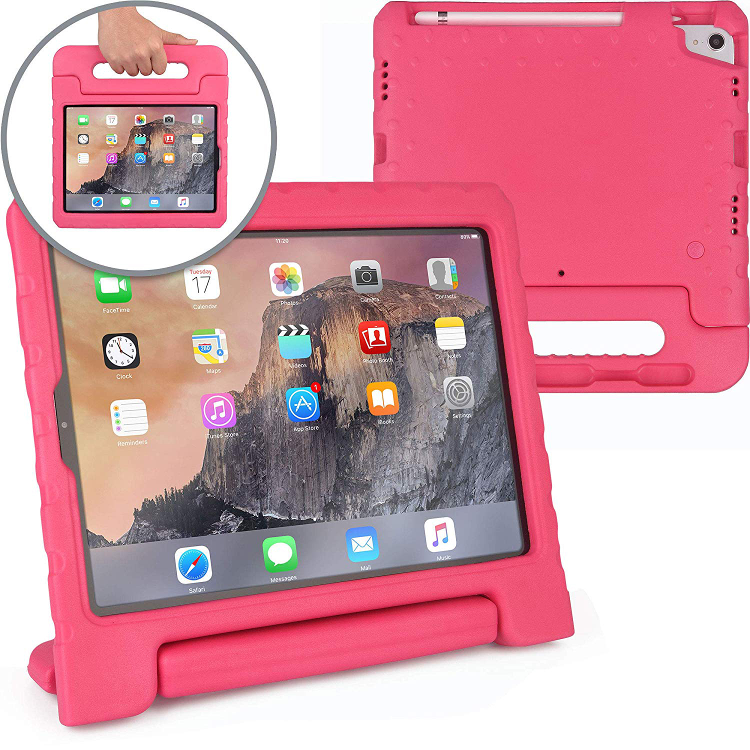 New iPad Pro 12.9 2018 Case, Allytech Dynamo [Rugged Kids Case] Light Weight Protective Case Cover for iPad Pro 12.9 3rd Generation 2018 | Child Proof Cover: Stand, Handle, Pencil Charge Slot, Rose