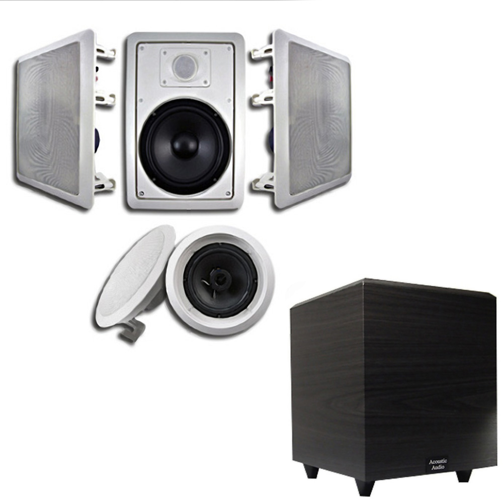 """Acoustic Audio HT-65 In-Wall/Ceiling 5.1 Home Theater 6.5"""" Speakers and 6.5"""" Powered Sub HT-65-RW6"""