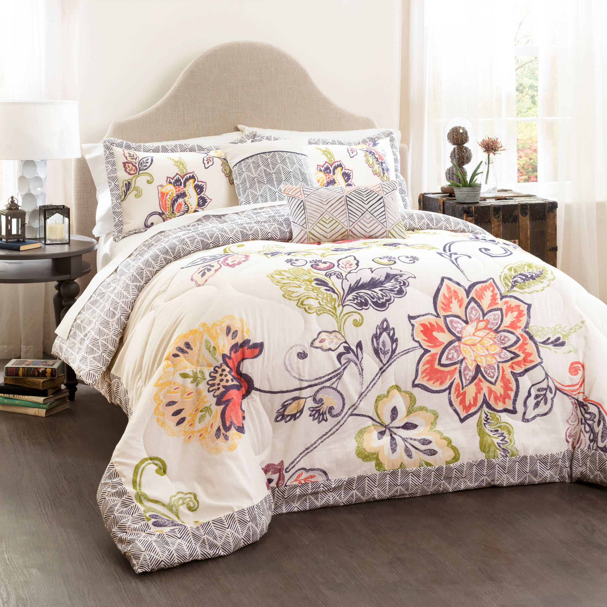 Aster quilted comforter coral navy 5 piece set king walmart com