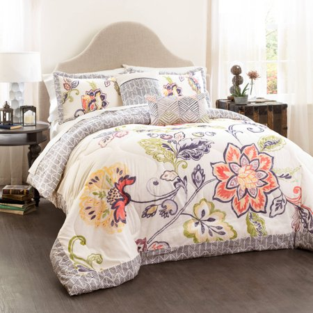 Aster Quilted Comforter Coral/Navy 5-Piece Set, King