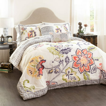 Aster Quilted Comforter Set (Full/Queen) Coral&Navy 5pc - Lush Décor