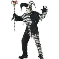 Evil Jester Adult Costume (Black/White)