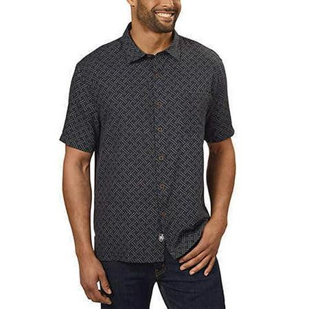 Nat Nast Men's Silk/Cotton Blend Shirt, Large, Black Patten - NEW