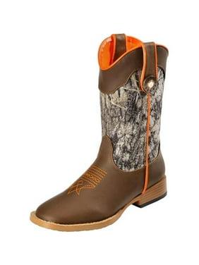 DBL Barrel 44418222-09.5 Kids Zip Buck Shot Boot, Brown - Size 9.5