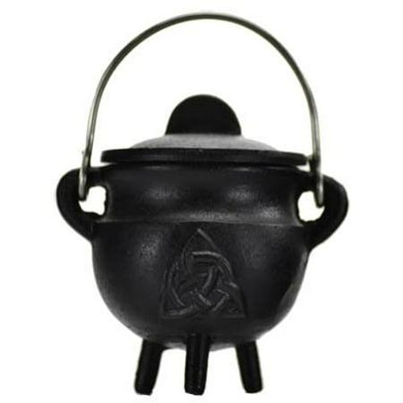 Triquetra Cast - Triquetra Cast Iron Cauldron w/ Lid 2 3/4 *