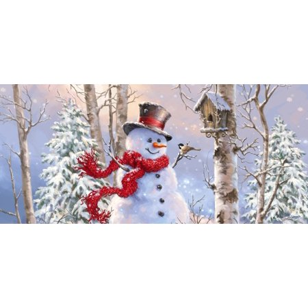 Birch Snowman (BIRCH FOREST SNOWMAN INSERT MAT Synthetic Winter Bird House 431140Bl, Welcome guests to your home with a seasonal doormat display! By Evergreen Flag Garden from USA )