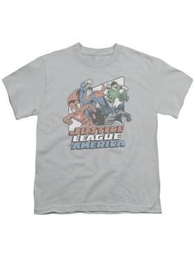 Jla - Four Against Crime - Youth Short Sleeve Shirt - X-Large