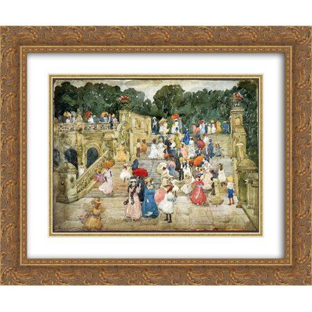 Maurice Prendergast 2x Matted 24x20 Gold Ornate Framed Art Print 'The Mall, Central Park (also known as Steps, Central Park or The Terrace Bridge, Central (Quick Bridge Mall)