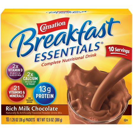 Carnation Breakfast Essentials Powder Drink Mix, Rich Milk Chocolate, 1.26 oz. Packets, 10 Count