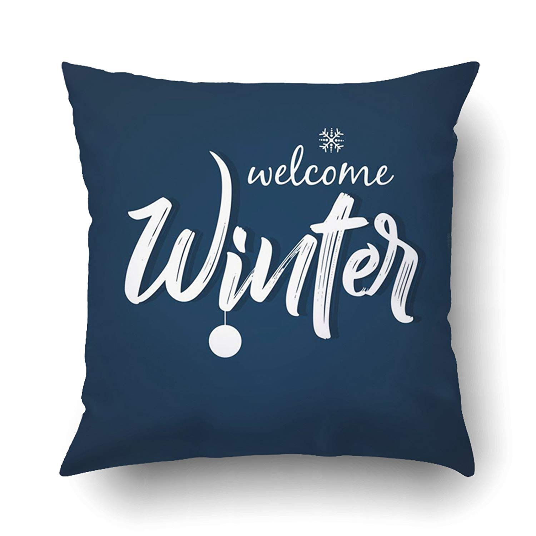 WOPOP Xmas Winter Season White Welcome Winter Text Single Snowflake Pillow Case Cushion Cover Case Throw Pillow Case 20x20 inches