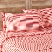 The Pioneer Woman Gingham Coral Ruffle Full Sheet Set