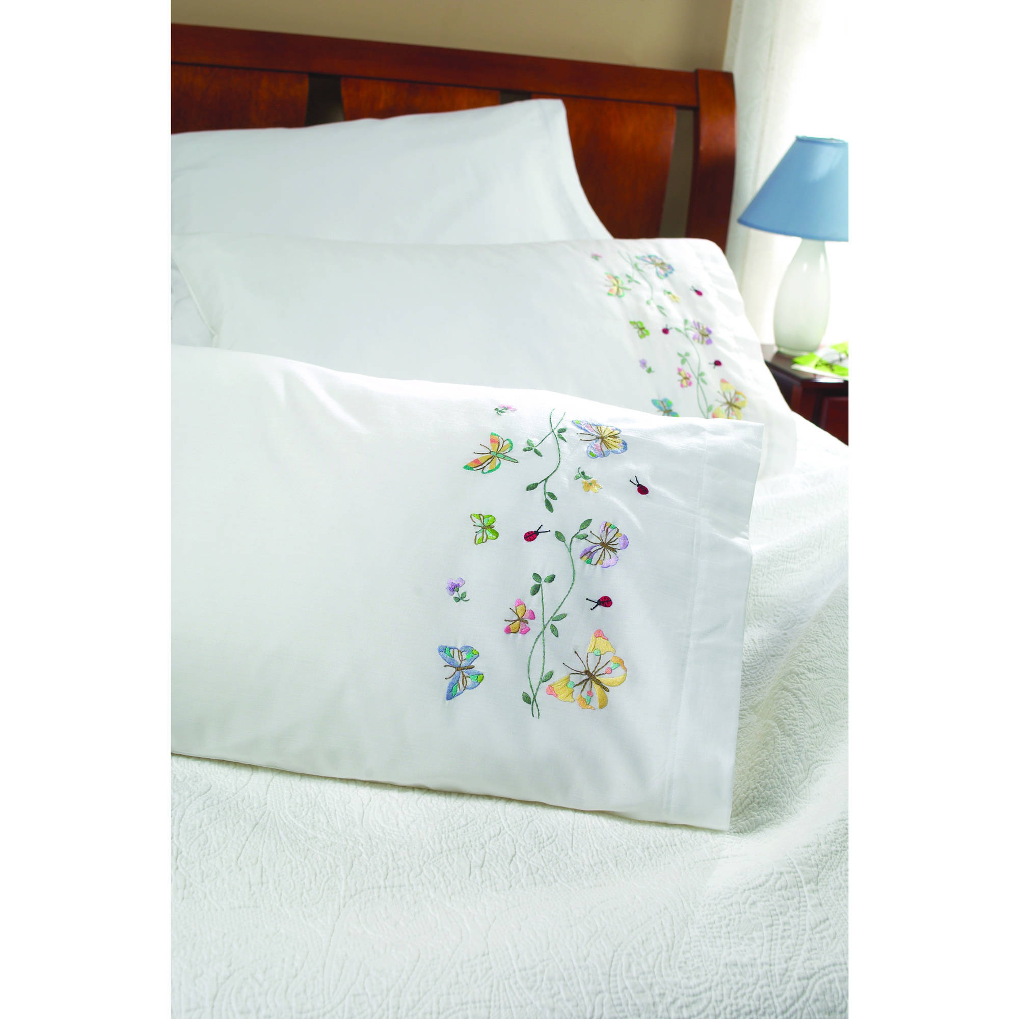 "Bucilla   Stamped Cross Stitch and Embroidery Pillowcase Pair Kit by Plaid, Butterflies   in Flight, Set of 2, 30"" x 20"" each"