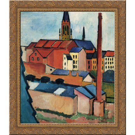 Wood Chimney - St. Mary's with Houses and Chimney (Bonn) 20x20 Gold Ornate Wood Framed Canvas Art by Macke, August