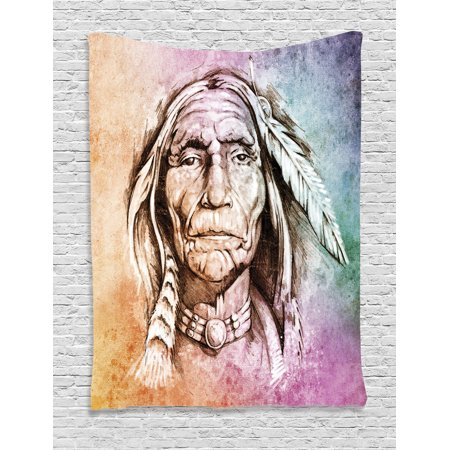 Native Americans Feathers - Native American Decor Wall Hanging Tapestry, Portrait Of Indian Chief With Ethnic Feather Band Watercolor Style Image Art Print, Bedroom Living Room Dorm Accessories, By Ambesonne