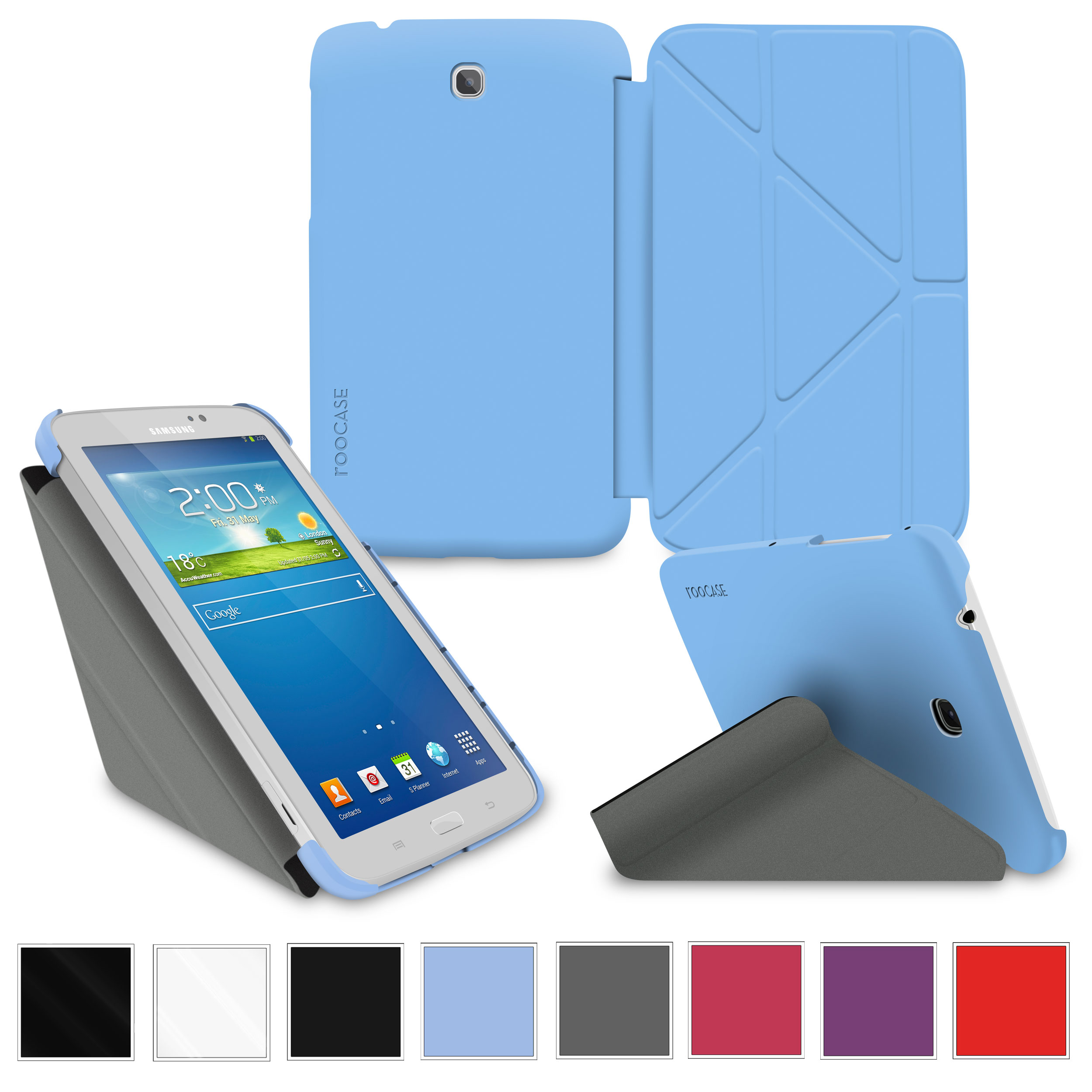 "rooCASE Samsung Galaxy Tab 3 7.0 Case - Slim Shell Origami Stand Tablet 7-Inch 7"" Cover with Landscape, Portrait, Typing Stand - BLUE"