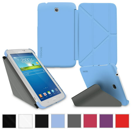 Roocase Samsung Galaxy Tab 3 7 0 Case   Slim Shell Origami Stand Tablet 7 Inch 7  Cover With Landscape  Portrait  Typing Stand   Blue