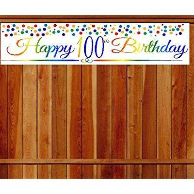 CakeSupplyShop Item#100RPB Happy 100th Birthday Rainbow Wall Decoration Indoor / OutDoor Party Banner (10 x - 100th Birthday Banners