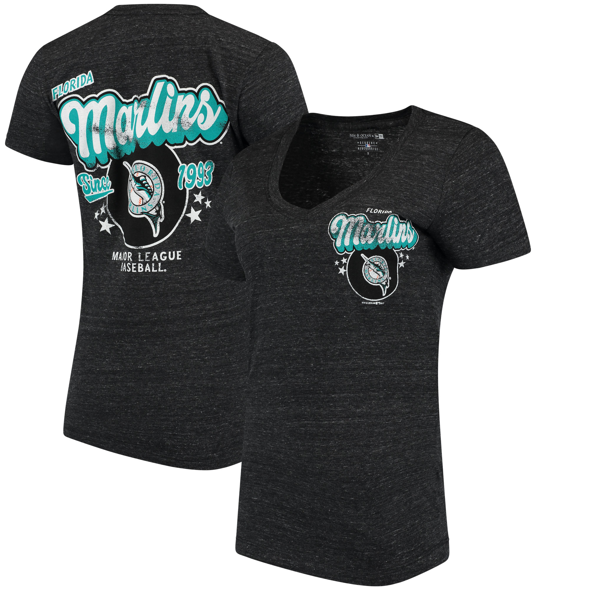 Miami Marlins 5th & Ocean by New Era Women's Cooperstown Collection Tri-Blend V-Neck T-Shirt - Heathered Charcoal