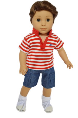 My Brittany's Red Polo Shirt with Shorts for American Girl Boy Dolls-18 Inch Doll Clothes by