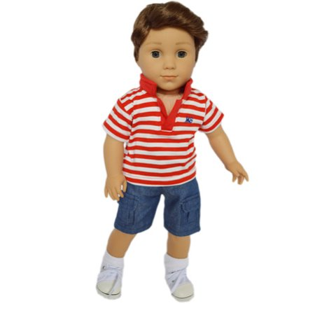 My Brittany's Red Polo Shirt with Shorts for American Girl Boy Dolls-18 Inch Doll Clothes ()