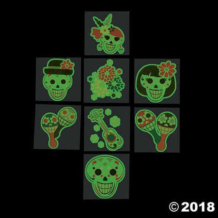 Glow-in-the-Dark Day of the Dead Tattoos (6 Dozen) by Fun Express (Day Of The Dead Tattoos)