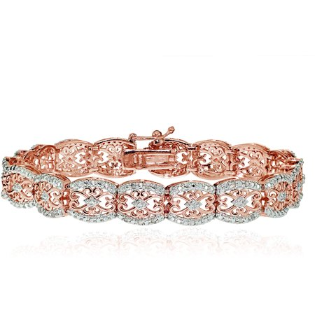 0.25 Carat T.W. Diamond Rose Gold-Tone Filigree Tennis Bracelet