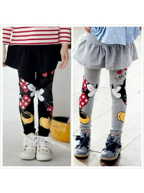 2-7Y Kids Baby Girls Cartoon Mickey Minnie Kiss Pants Leggings Kids Skirt Pants Trousers