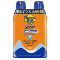 Banana Boat Sport CoolZone Clear Sunscreen Spray SPF 30, 12 Oz Twin Pack
