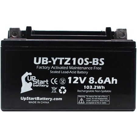 Replacement 2006 Yamaha YZF-R6 (excl. R6S) 600CC Factory Activated, Maintenance Free, Motorcycle Battery - 12V, 8.6Ah, UB-YTZ10S-BS - image 2 de 4